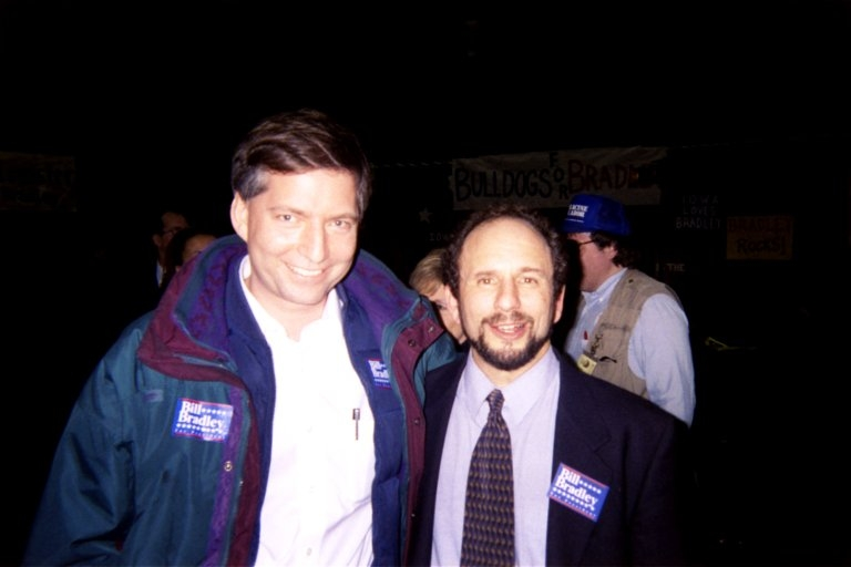 Tim Cohn with Paul Wellstone, 23 January 2004, working on Bill Bradley for President            Campaign, Des Moines, Iowa